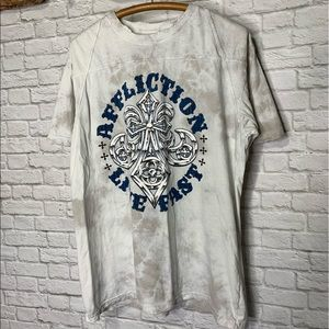 "Affliction Destroyed Tee Shirt ""Live Fast"" Size XL"